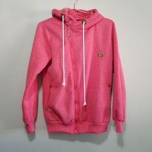 Sweaters - Bright pink zip up hooded sweater